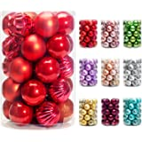 AMS Christmas Ball Ornaments Exquisite Colorful Balls Decorations Pendant Pack 24pcs (40mm, Red)