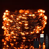 Twinkle Star 200 LED 66ft Halloween Fairy String Lights USB & Adapter Powered, Dimmable Control Starry Black Wire Lights Home