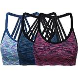 ohlyah Women's Wire Free Padded Sports Bra Racerback Yoga Bras Pack