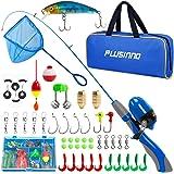 PLUSINNO Kids Fishing Pole, Portable Telescopic Fishing Rod Combos Full Kits - with Fishing Net, Travel Bag, and Tackle Box,