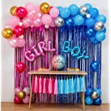 Boy Or Girl Gender Reveal Party Decoration Set,&Balloons Arch Garland Kit(Blue Silver Pink Gold),Foil Balloons,Metallic Fring