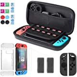 LURICO 11 in 1 Starter Kits for Nintendo Switch, Carrying Case for Nintendo Switch, Transparent Cover, 2 Screen Protector for