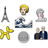 RipDesigns - 7 Pop Culture Artsy Enamel Pins for Backpacks | Enamel Pin Set | Backpack Pins | Cute Pins | Aesthetic Pins | Ar