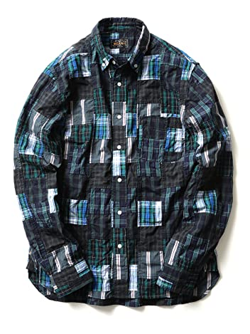 Crazy Patchwork Buttondown Shirt 11-11-2478-139: Green