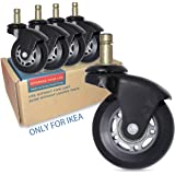 """AXL 2.5"""" Office Chair Caster Wheel Replacement for IKEA Rollerblade Wheels Heavy Duty Casters for Hardwood Floors Safe, Set o"""