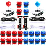 Hikig 2 Player led Arcade Buttons and joysticks DIY kit 2X joysticks + 20x led Arcade Buttons Game Controller kit for MAME an