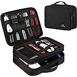 Matein エレクトロニクス トラベルオーガナイザー 防水 電子アクセサリーケース ポータブル 二層ケーブルストレージバッグ コード、充電器、フラッシュドライブ、電話、iPad Mini、SDカード用、彼へのギフト ブラック