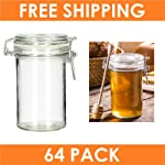 Set of 64 - Miniature Hinged Apothecary Jar 70ml - Round Glass Jars Hinge Lid Rubber Gasket Clear Canisters Food Kitchen...