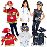 Born Toys Premium 16pcs Costume Dress up set for kids ages 3-7 fireman,police costume, and doctor all sets are washable and h