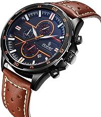 腕時計 メンズ腕時計 クラシック ファッションスポーツレザーウォッチ リアルレザーストラップ カレンダー 防水 多機能 メンズクォーツ時計