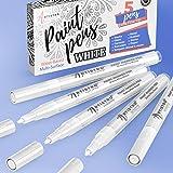 White Paint Pen ホワイト ペイントペン ロックペインティング 石 セラミック 陶器 タイヤ ガラス 木 布 生地 金属 キャンバス 5本セット アクリル ペイントマーカー 白 極細 チップ