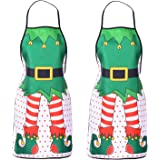 Lvydec 2 Pack Christmas Funny Elf Apron, Cute Kitchen Chef Bib BBQ Cooking Aprons for Adult,Holiday Kitchen Apron Funny Creat