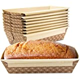 [30 Pack] 1 LB Kraft Paper Bread Loaf Pan Disposable Corrugated Recyclable Bakery Pastry Rectangle Pans with Artisan Print fo