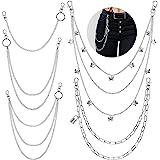 5 Pieces Jeans Chains Set Wallet Chain Pocket Chain Belt Chains Hip Hop Pants Chain Butterfly Lock Pendant Belt Multi Layer C