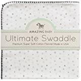 Amazing Baby Ultimate Winter Swaddle, X-Large Receiving Blanket, Made in USA, Premium Cotton Flannel, Playful Dots, Sterling