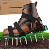 NEUFLY Lawn Aerator Shoes, Newest Foldable Ergonomics Lawn Aerator Scarifier Free Size Lawn Aerator Spike Shoes for Lawn or Y