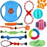 Perkisboby Dog Puppy Toys, Puppy Tug Toys for Playtime and Teeth Cleaning, IQ Treat Ball Squeak Toys and Dog Flying Disc Incl