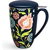 Tea Mug with Infuser and Lid - Ceramic Tea Cup with Lid - Teaware with Filter 15oz, Black Flower