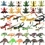 Trounistro 36 Pack Realistic Sea Turtle Colorful Fake Plastic Lizard Poison Dart Frogs Animals Frog Educational Toys for Kids
