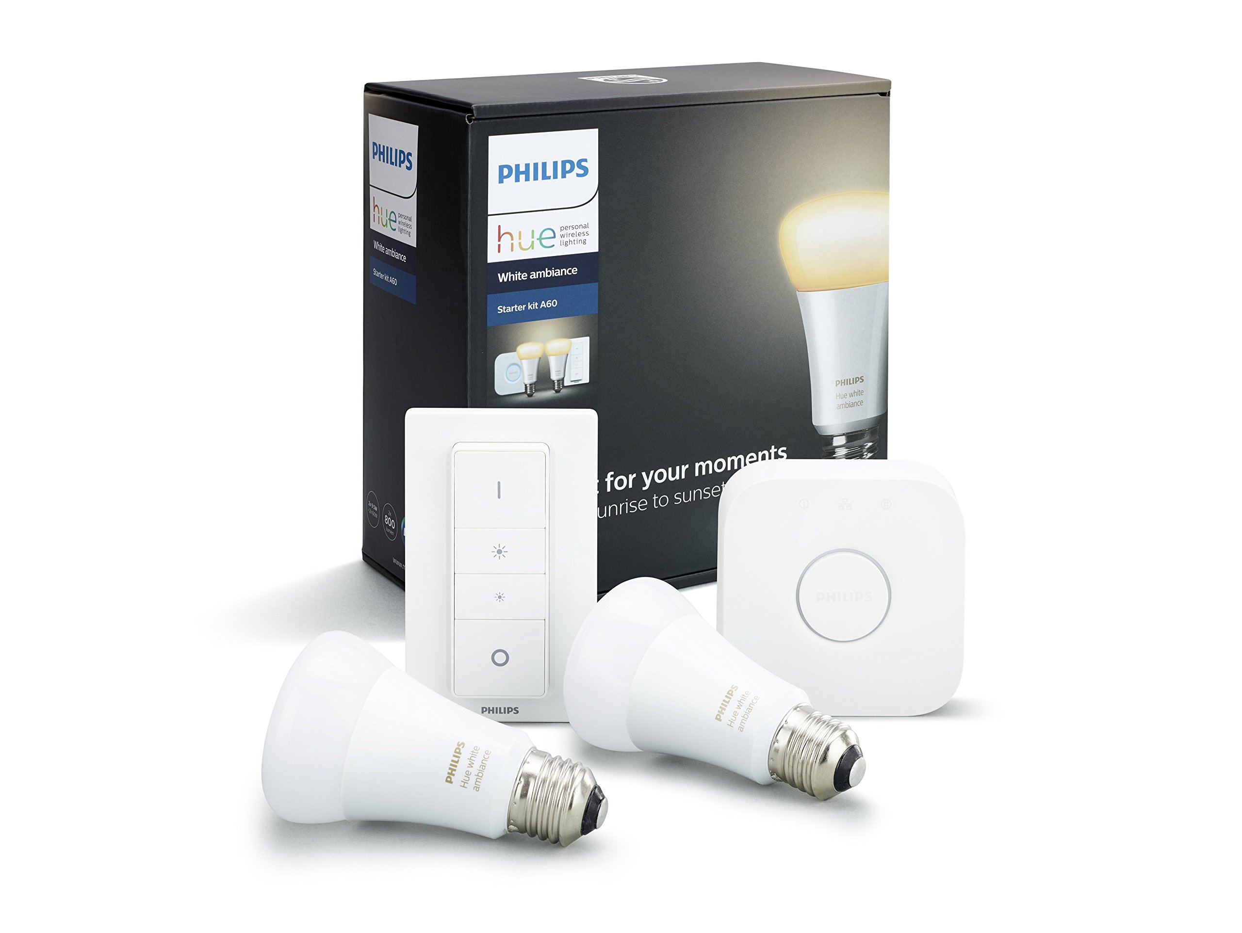 Philips Hue White Ambiance Smart Bulb Starter Kit - Edison Screw E27 (Compatible with Amazon Alexa, Apple HomeKit, and Google Assistant) 1