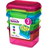 Sistema Lunch Food Storage Container with Contrasting Clips, Green/Pink/ Blue, 400 ml, Pack of 3