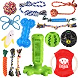KIPRITII Dog Chew Toys for Small Aggressive Chewers - 15 Pack Teething Chew Toys for Boredom, Pet Dog Toothbrush Chew Toys wi