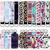 BIHRTC 22 Pieces Chapstick Holder Keychain Neoprene Lipstick Wristlet Keychain With Chapstick Holder Lipstick Protective Case