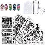 Biutee 5pcs Nail Stamping Plates + 1 Stamper + 1 Scraper Lace Flower Animal Pattern Nail Art Stamp Stamping Template Image Pl