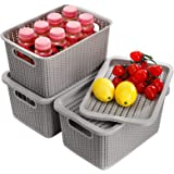 Jucoan 3 Pack Plastic Storage Baskets with Lids, 11 x 7.5 x 5.6 Inches Stackable Lidded Woven Organizer Tote Bins for Toys, A