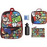 "Nintendo Boys 5 PC Shimmer Pixel Character 16"" Backpack Combo Set"