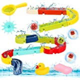 Sotodik Baby Bath Toys Assemble Set DIY Water Slide Waterfall Ball Tracks Bathtub Shower Toys with Wall Suction Swimming Pool