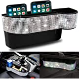 Car Seat Gap Filler Seat Console Pockets Storage Organizer White Bling Bling with Cup Holder