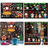 Biubee 4 Sheet Christmas Window Stickers-Merry Christmas Santa Claus Reindeer Snowman Removable Vinyl Window Decals Colorful