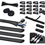 SOULWIT® 134Pcs Cable Management Kit, 4 Tubing Cable Sleeve, 3 Silicone Cable Holder, 10+2 Roll Cable Organizer Straps, 15 La