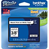 "Brother Genuine P-touch TZE-221 Tape, 3/8"" (0.35"") Standard Laminated P-touch Tape, Black on White, Laminated for Indoor or O"