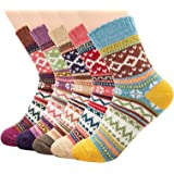 Women Winter Socks 5 Pairs, Vintage Chunky Knit Wool Cashmere, Thick Warm Soft Solid Casual Sports Socks