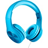 LilGadgets Connect+ PRO Kids Premium Volume Limited Wired Headphones with SharePort and Inline Microphone for Children (Blue)