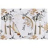 "Ruvanti Placemats for Dinning Table .100% Cotton Woven (13x19 "") Placemats Set of 6 Leaf Placemats/Fall Placemats Orange & Gr"
