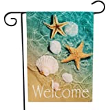 Ogiselestyle Welcome Summer Beach Garden Flag Starfish and Seashell Double Sided Decorative Sea Small Yard Decor Flags for Ou
