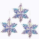 Iridescent Snowflake Ornament Hanging Decoration, Foil Ceiling Decorative Hanging Ornaments for Christmas Bridal Shower Weddi