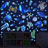 97 Pieces Glow in The Dark Sea Wall Decal Under The Sea Removable Glowing Sticker Fluorescent Starfish Shell Ocean Wall Stick