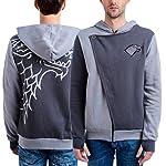 HBO'S Game of Thrones Mens GTA010MOL Mens Game of Thrones Stark Zip Hoodie with Flap Embroidered Sweatshirt Hoody - Gray
