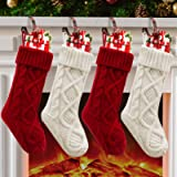 Christmas Stockings, 4 Pack Personalized Christmas Stocking 18 Inches Large Cable Knitted Stocking Decorations for Family Hol