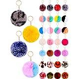 36 Pieces Pom Poms Keychain Fluffy Ball Key Chain Faux Fur Pompoms Ball Keychains Faux Rabbit Fur Fluffy Puff Ball Keychain f