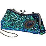 BABEYOND 1920s Flapper Peacock Clutch Gatsby Sequined Evening Handbag Beaded Bag