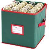 Sattiyrch Christmas Ornament Storage Box,600D Oxford Fabric Stores up-to 64 Standard Holiday Ornaments Holder,12 x 12 Inch 4