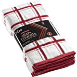 """XLNT Red Large Kitchen Towels (3 Pack) - 100% Cotton Dish Towels 