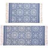 Hedume 2 Pack Cotton Area Rug, Machine Washable Printed Tassels Throw Rugs for Kitchen, Living Room, Bedroom Bathroom, Laundr