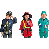 IQ Toys Firefighter, Police, Doctor Costume Dress Up for Kids - Set of 3 Costumes with Hats and Accessories
