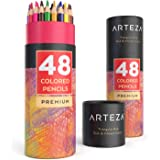 ARTEZA Colored Pencils Set, 48 Colors with Color Names, Triangular shaped, Pre sharpened, Soft Wax-Based Cores, Vibrant Artis
